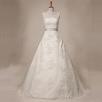 JAEDEN O Neck A Line Wedding Dresses Appliques Crystal Beads Sashes Sweep Train Zipper Button Wedding Bridal Gown W100
