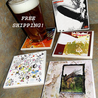 LED ZEPPELIN Ceramic Tile Album Covers Coasters Set of 4 - Free Shipping