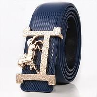 Hermes New fashion H horse buckle couple belt Blue
