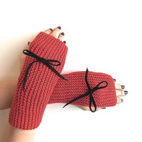 Coral Fingerless Gloves, Knitted Mittens, Hand Warmers with Black Suede Bow