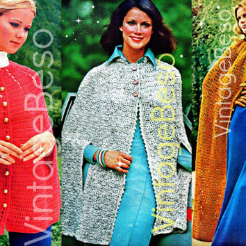 3 CAPES 1970s Vintage CROCHET Patterns 1-EASY Crochet Cape 2-Tweed Cape 3-Romantic Irish Clock Instant Pdf Vintage Beso Crochet Patterns