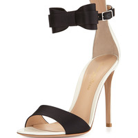 Gianvito Rossi Contrast Bow Ankle-Wrap Sandal, Black/White