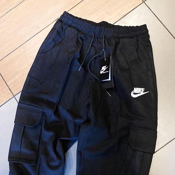 NIKE New fashion embroidery letter hook sports leisure pants Black