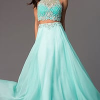 Two Piece Sheer Back Long Mint Prom Dress