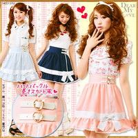 All P heart buckle skirt red ribbon wrapping skirt DM wind