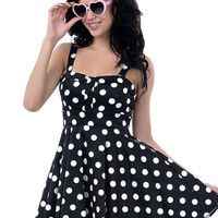 Polka Dot Strappy Sheath A-line Mini Skater Dress