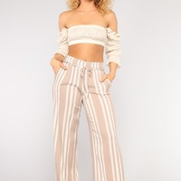 Step Up The Stripe Pants - Taupe