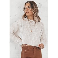 Everything About You Oatmeal Crop Sweater