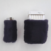 Deep Purple Cigarette Case, Box Holder, Bic Lighter Cover, Faux Fur