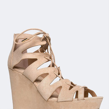 CUTOUT LACE UP WEDGE