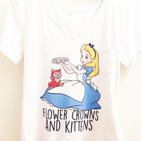 Flower Crowns and Kittens - Alice in Wonderland - Polyester Thin Shirt - Disney Tumblr S, M, L, XL. XXL