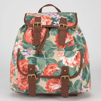 Floral Print Backpack Taupe One Size For Women 23489041301