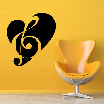 Wall decal decor decals art sticker note music song heart treble clef key (m387)