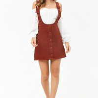 Corduroy Button-Front Overall Skirt