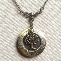 Brass locket necklace with Tree