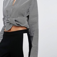 House Of Sunny Tie Front Crop Top With Long Sleeves at asos.com