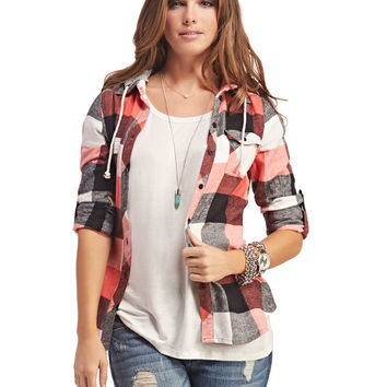Hooded Plaid Flannel Shirt | Wet Seal