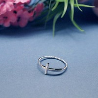 Tiny SIDEWAYS CROSS ring with twisted band in Silver