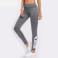 LOVE Print Marled Knit Leggings Workout Clothes for Women