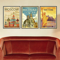 Vintage World Cities A4 Art Print Poster Wall Picture Canvas Painting No Frame Living Room Deco