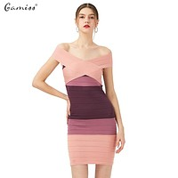 Gamiss Sexy Club Dress New Women Summer Style Off Shoulder Bodycon Bandage Dress Celebrity Knitted Striped Party Dresses vestido