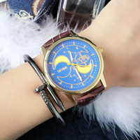 Quartz Watch with Moon/Starry Sky Dial and Faux Leather Belt