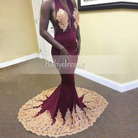 Halter Burgundy Open Front Sleeveless Off the Shoulder Satin Floor Length Sexy Long African Prom Dresses Mermaid Prom Dress