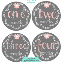 GIFT Baby Girl Month Stickers Monthly Milestone Bodysuit Stickers Gray Pink Flower Mod Just Born Newborn Gift