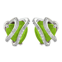August Birthstone Women Peridot Solitaire Heart Earrings White Gold Finish Over 925