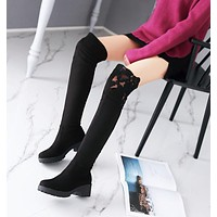 Slim Elastic Thigh High Boots Low Chunky Heel 1010