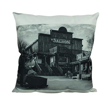 Saloon |  Pillow Cover | Home Decor | Vintage Photo | Decor Rustic | Western Decor | Black and White | Gift Idea | Gift for Friend