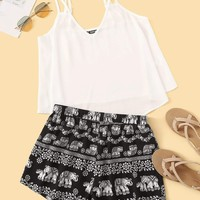 Double Straps Swing Top & Tribal Print Shorts Set