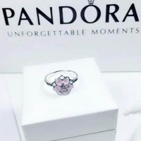 Pandora Women Fashion New Floral Diamond Retro Personality Ring Silver