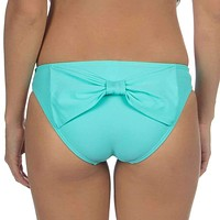 Solid Bow Back Hipster Bikini Bottoms in Aqua by Lauren James