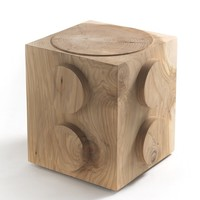 Low solid wood stool L'EGO by Riva 1920 | design Alessandro Guidolin