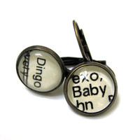 Dingo and Baby Word Earrings Recycled Library Card Patina Brass