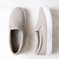 Lowkey Perforated Slip On Sneakers in Grey