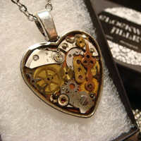 Clockwork Heart with Vintage Watch Parts Steampunk Style Necklace- Great Valentines Day Gift (1954)