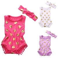 Toddler Baby Girls One-piece Polka Dot Clothes Outfits Sleeveless Romper Jumpsuit + Bow Headband Sunsuit