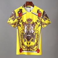 D&G Dolce & Gabbana Men Fashion Yellow T-Shirt Top Tee