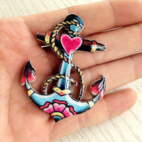 Sailor Anchor Nautical Tattoo Brooch by pier7craft on Etsy