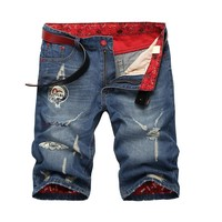Denim Summer Ripped Holes Slim Men's Fashion Pants Shorts [10271215363]
