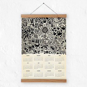 2015 Wall calendar 100% recycled paper / eco friendly home decor/doodles/black and white