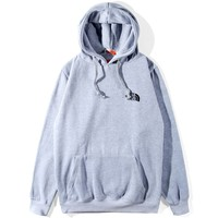 The North Face Tide brand men's and women's loose wild hooded hoodie Grey