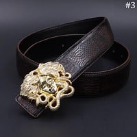Versace 2018 new casual fashion business style men's smooth buckle belt #3