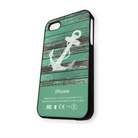 Anchor Turquoise Wood iPhone 5/5S Case