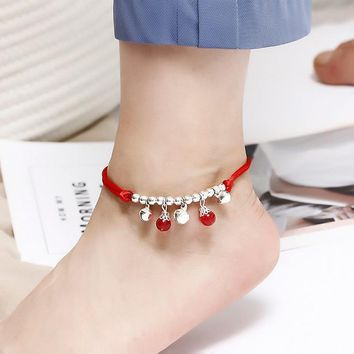 Boho Red Thread Ankle Bracelet Silver Color Beads Foot Bracelet Chain String Halhal Anklet on the Leg Jewelry For Women Braclet