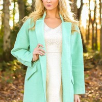 Just Like Jackie Coat-Winter Mint