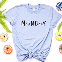 Monday Shirt Lashes Tshirt/ Lashes Shirt Mondy tee/ Eyelash Tshirt Sleep Shirt Eyelashes Shirts/ Tumblr T Shirt/ Tumblr Shirts Make Up Shirt