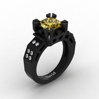 Modern Vintage 14K Black Gold 2.0 Carat Princess Yellow Sapphire Diamond Solitaire Ring R1023-14KBGDYS